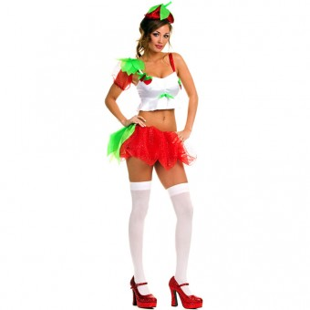 Fun Flirty Playful Sexy Three Piece Strawberry Girl Outfit w/ Hat Costume Cosplay Halloween