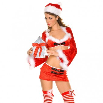 Fun Sexy Christmas Cute Sexy Miss Santa Costume w/ Hat Costume Cosplay