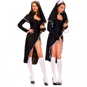 Hot Sexy Vixen Two Piece Flirty Nun w/ Head Piece Costume Cosplay Halloween