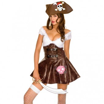 Sexy Flirty Hot Buccaneer Two Tone Beauty Sexy Pirates Costume Cosplay Halloween