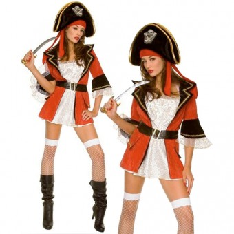 Sexy Flirty Hot Captain Jacket w/ High Waist Belt and Gold Accents Wench Costume Cosplay Halloween
