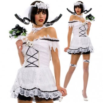 Sexy Seductive Flirty Corpse Lace Up Back Bride Costumes w/ Ruffle Lace Trim Come w/ Veil