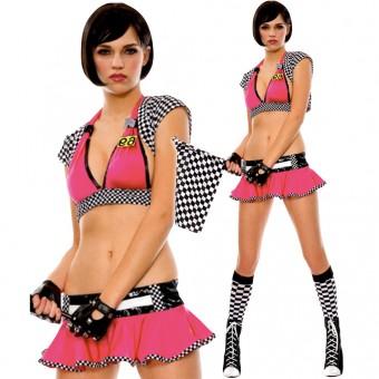 Seductive Hot Vixen Race Starter Racer Girl Outfit w/ Flag Gloves Halloween Costume Cosplay