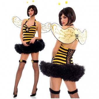 Three Piece Cute Halter Bumble Bee Dress w/ Attached Petticoat Belt Lace Up Back w/ Antenna Wings