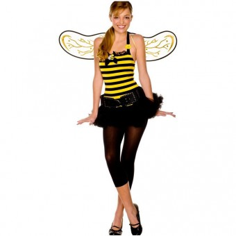 Fun Flirty Playful Sexy Tween Cute Bumble Bee Outfit w/ Head Piece Wings Belt Leggings