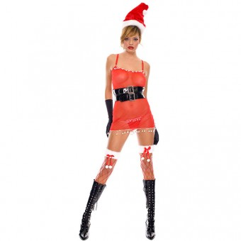 Fun Sexy Christmas Sexy Mrs Santa Outfit w/ Hat Belt Gloves Costume Cosplay