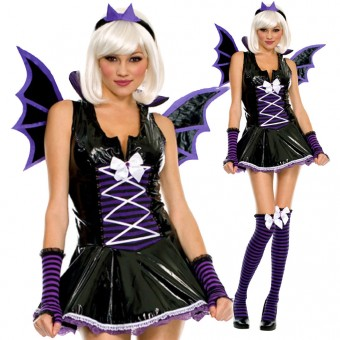 Naughty Sexy Purple Vinyl Bat Costume w/ Wings Head Piece Arm Warmer Cosplay Halloween Outfit