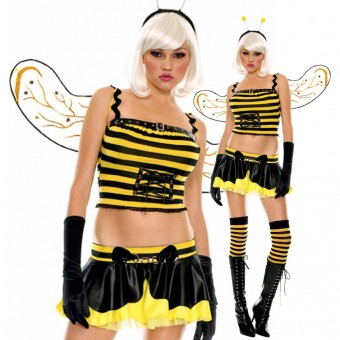 Fun Flirty Playful Sexy Honey Bee Costume w/ Head Piece Wings Satin Gloves