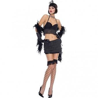 Sexy Classic Vixen Dapper 1920s Costume w/ Head Piece Boa Gloves Costumee Cosplay