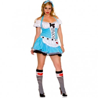 Three Piece Halter Off Shoulder Alice Sexy Costume w/ Headband Knee Hi Halloween Costume Cosplay