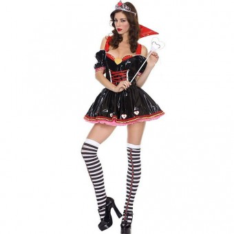 Sexy Flirty Vixen Vinyl Evil Queen Costume w/ Tiara Scepter Halloween Costume Cosplay
