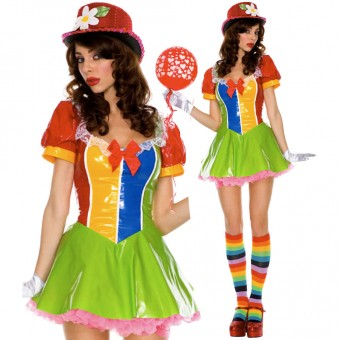 Sexy Fun Party Colorful Clown On The Town Costume w/ Stain Gloves Costume Cosplay Halloween