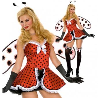 Fun Flirty Playful Sexy Lady Bug Costumes w/ Wings Gloves Head Piece Costume Cosplay Halloween