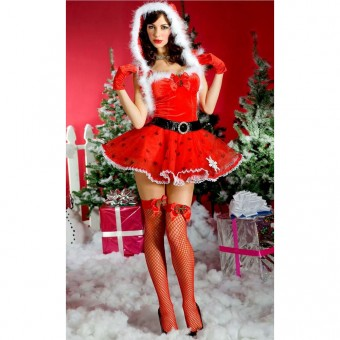 Fun Sexy Christmas Miss Mistletoe Outfit w/ Sweetheart Print w/ Marabou Trim Hood Satin Gloves Belt