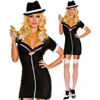 Sexy Flirty Classic Sexy Flirty Classic Touchable Gangster w/ Hat Removable Garter Clips Toy Gun