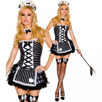 Hot Seductive Dome Maid Outfit Included Head Piece Choker Whip Duster Costume Cosplay Halloween
