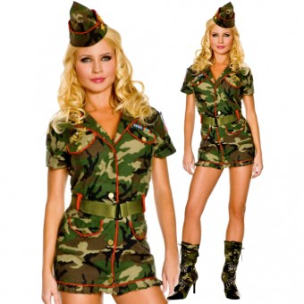 Hot Vixen Thin Red Line Cadet Dress w/ Hat Belt Costume Cosplay Halloween
