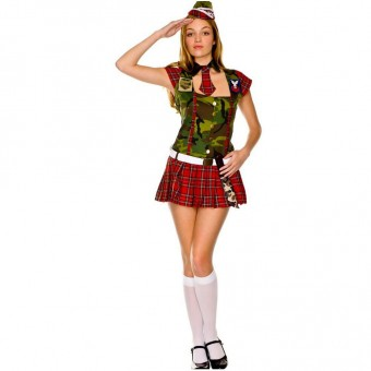 Hot Vixen Tween Camo Tartan Recruit Dress w/ Hat Necktie Belt Knife Knee Hi Costume Cosplay