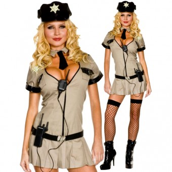 Naughty Hot Flirt Sexy Sheriff w/ Hat Necktie Garrison Belt Thigh Hi Costume Cosplay Halloween