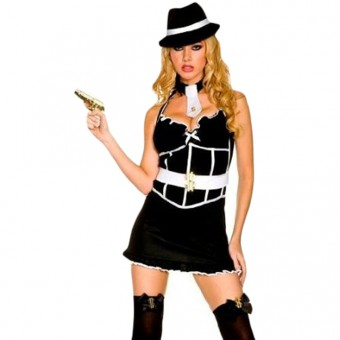 Sexy Flirty Classic Sexy Flirty Classic Sexy Gangster Outfit w/ Hat Neck Tie Toy Gun Cuffs Stockings
