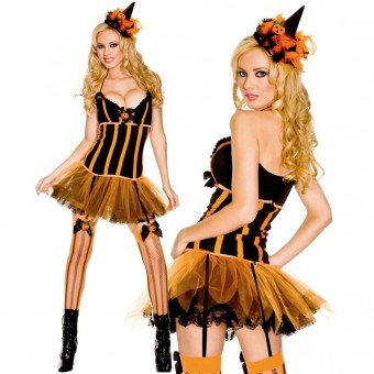 Fun Flirty Playful Sexy Pumpkin Patch Dress w/ Attached Tutu w/ Hat Costume Cosplay Halloween