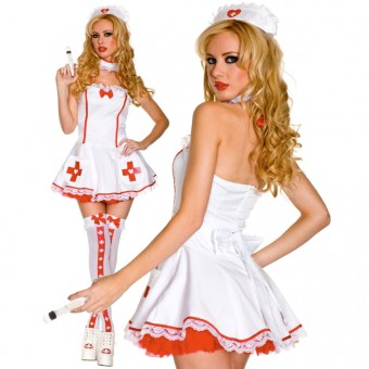 Hot Sexy Wild Nurse Of Heart w/ Head Piece Choker Syringe Costume Cosplay Halloween