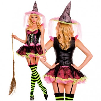 Sexy Naughty Hot Evil Four Piece Corset Style Bodice w/ Tutu Skirt w/ Hat Thigh Hi Halloween Costume