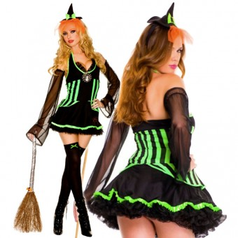 Sexy Naughty Hot Evil Spider Mistress Dress w/ Sleeves w/ Hat Halloween Costume Cosplay