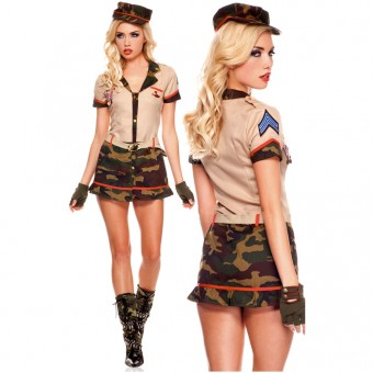 Hot Vixen Three Piece Medallion Army Dress w/ Hat Garrison Belt Costume Cosplay Halloween