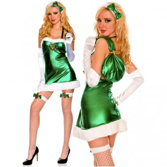 Five Piece Metallic Halter Marabou Trimmed Dress w/ Headband Mini Santa Sack Gloves Thigh Hi