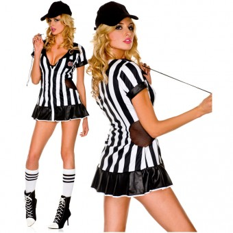 Playful Sexy Fun Four Piece Sexy Referee Dress w/ Side Net Details w/ Hat Whistle Knee Hi Costume