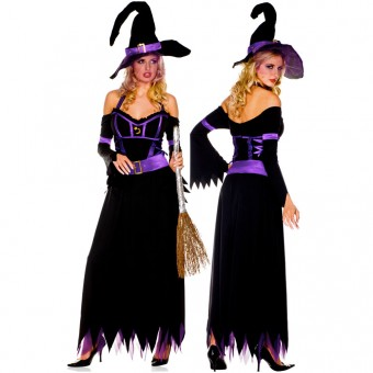 Sexy Naughty Seductive Three Piece Long Halter Dress w/ Attached Sleeves w/ Hat Belt Halloween Costume