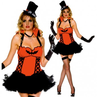 Sexy Seductive Flirty Countess Dracula Ruby Tutu Dress w/ Satin Gloves Hat Costume Cosplay Halloween