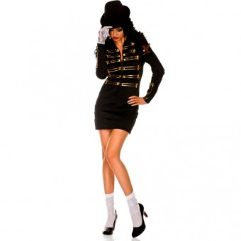 Four Piece Long Sleeved Zip Up Front Dress w/ Metallic Gold Patterns Buttons Costume Cosplay Halloween