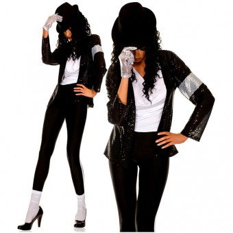 Six Piece Sequined Jacket Tank Top Tights w/ Hat Sequined Glove Knee Hi Costume Cosplay Halloween