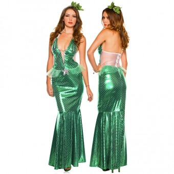 Sexy Fun Two Piece Long Metallic Mesmerizing Mermaid Dress w/ Headband Costume Cosplay