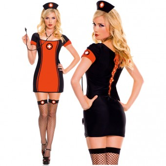 Hot Flirty Fun Three Piece Sexy Baby Nurse Dress w/ Head Piece Stethoscope Cosplay Halloween Costume