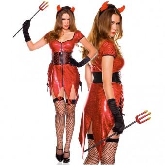 Four Piece Zip Up Front Metallic Dress w/ Lace Up Side w/ Headband Waist Cincher Gloves