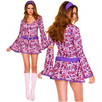 Sexy Flirty 70s Style Sexy 70s Style Three Piece Floral Go-go Dress Bell Long Sleeves w/ Headband Belt