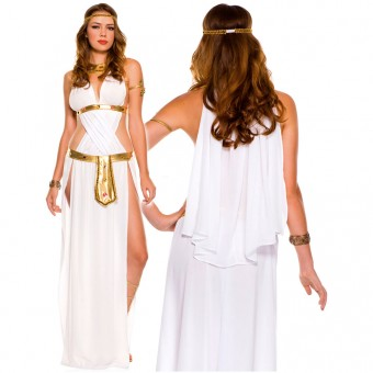 Two Piece White Front Twisted Sexy Goddess Dress w/ Side Slits Cape w/ Head Piece