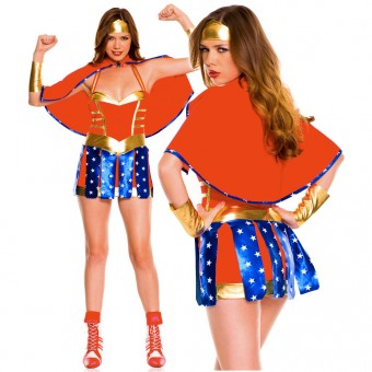Fun Superhero Four Piece Halter Neck Wonder Lady Costume w/ Headband Cape Arm Band Cosplays