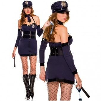 Naughty Halter Zip Up Sexy Police Dress w/ Hat Tie Arm Warmer Baton Hand Cuffs Pantyhose Costume