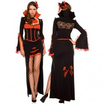 Five Piece Long Sleeves Dress Lace Back w/ Head Piece Ruffled Neck Piece Pantyhose Detachable Skirt