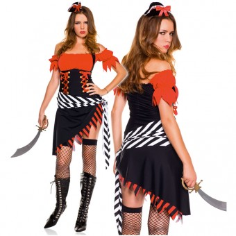 Hot Vixen Four Piece Halter Off Shoulder Treasure Hunt Pirate Dress w/ Hat Waist Sash Thigh Hi Costume
