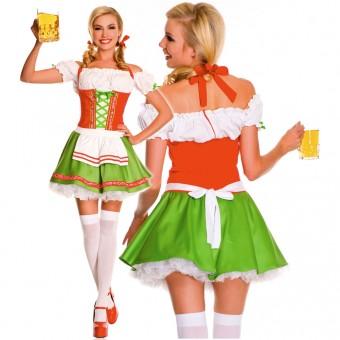 Fun Sexy Three Piece Oktoberfest Darling Dress w/ Hair Bows Thigh Hi Costume