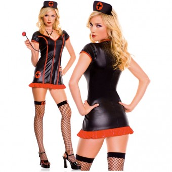 Hot Fun Flirty Four Piece Zip Up Front Sexy Nurse Dress w/ Head Piece Stethoscope Thigh Hi