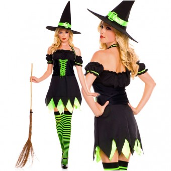 Sexy Naughty Seductive Three Piece Halter Neck Witch Dress w/ Double Layered Skirt w/ Hat Thigh Hi
