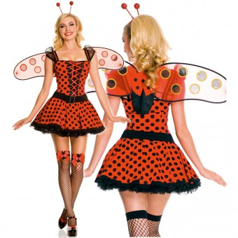 Four Piece Pleated Lady Bug Dress w/ Organza Ruffled Sleeves Front Lace Up w/ Antenna Belt Wings