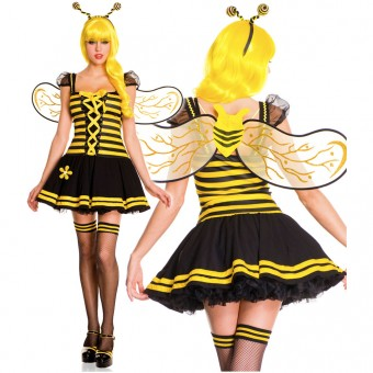 Three Piece Pleated Bee Dress w/ Organza Ruffled Sleeves Front Lace Up Details w/ Antenna Wings