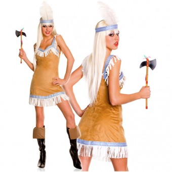 Flirty Sexy Three Piece Darling Native American Dress w/ Head Piece Tomahawk Costume Cosplay